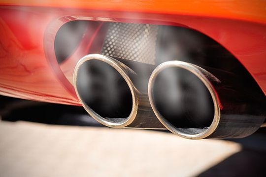 red car exhaust